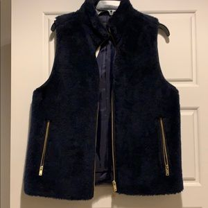 New with tags! J crew faux fur navy vest M